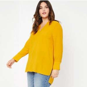 Eloquii Easy V Neck Tunic in Gold 28